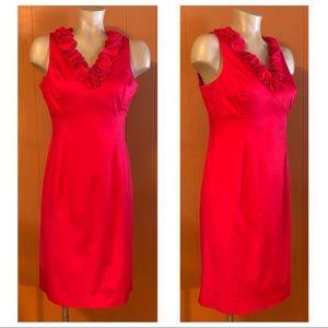 Anne Klein Pink Dress with Rosette Neckline, 4